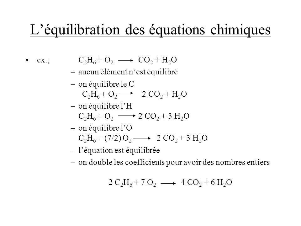 L'équilibration des équations chimiques