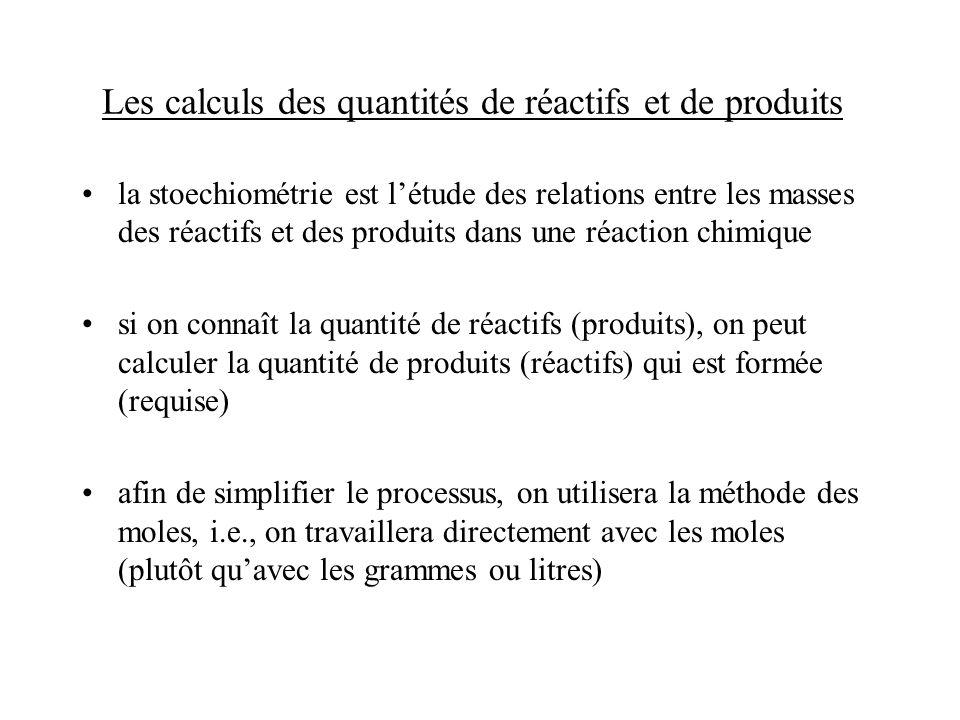 Les calculs des quantités de réactifs et de produits