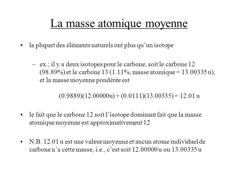 La masse atomique moyenne