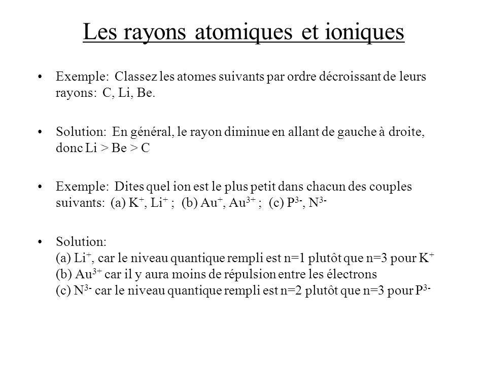 Les rayons atomiques et ioniques