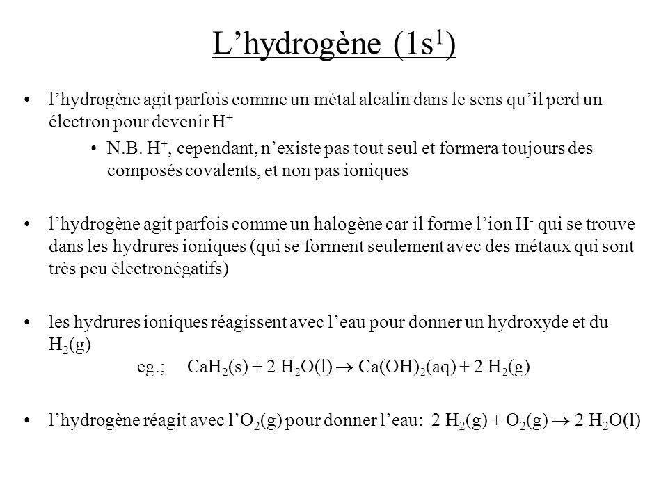 L'hydrogène (1s1) l'hydrogène agit parfois comme un métal alcalin dans le sens qu'il perd un électron pour devenir H+