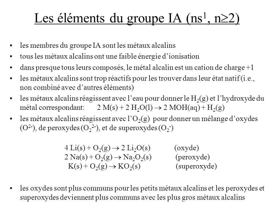Les éléments du groupe IA (ns1, n2)