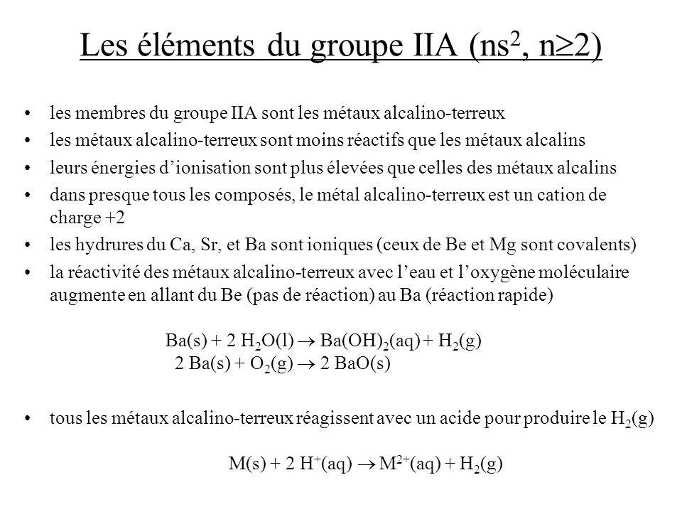 Les éléments du groupe IIA (ns2, n2)