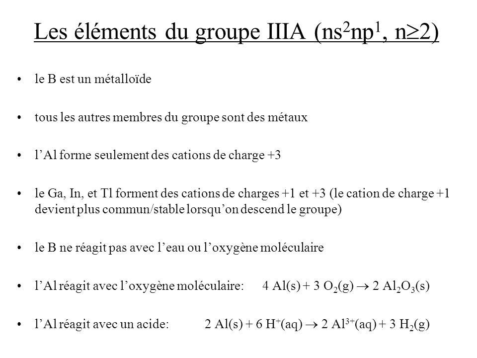 Les éléments du groupe IIIA (ns2np1, n2)