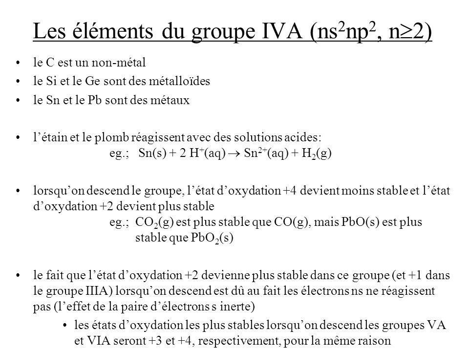 Les éléments du groupe IVA (ns2np2, n2)