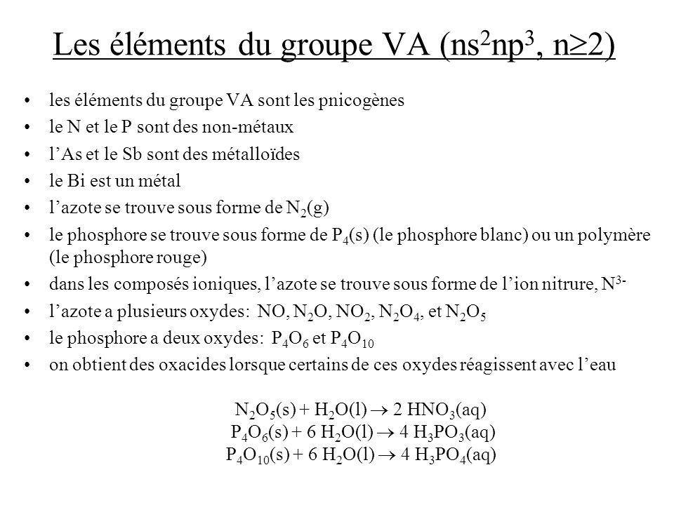 Les éléments du groupe VA (ns2np3, n2)