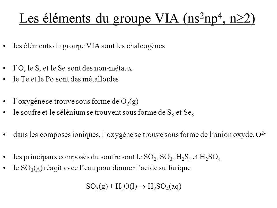 Les éléments du groupe VIA (ns2np4, n2)