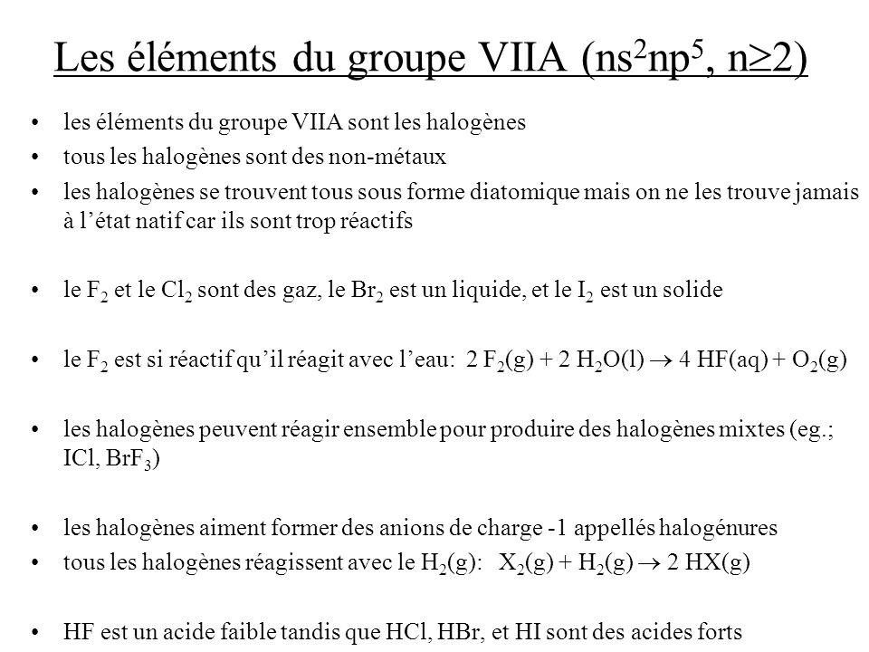 Les éléments du groupe VIIA (ns2np5, n2)