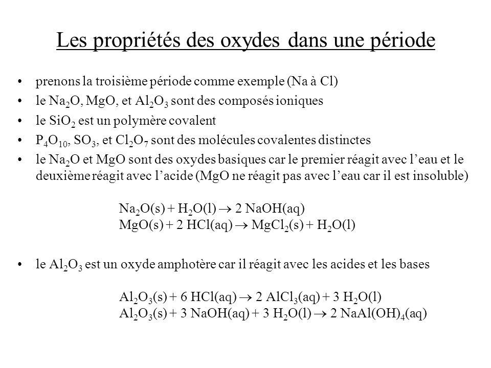 Les propriétés des oxydes dans une période