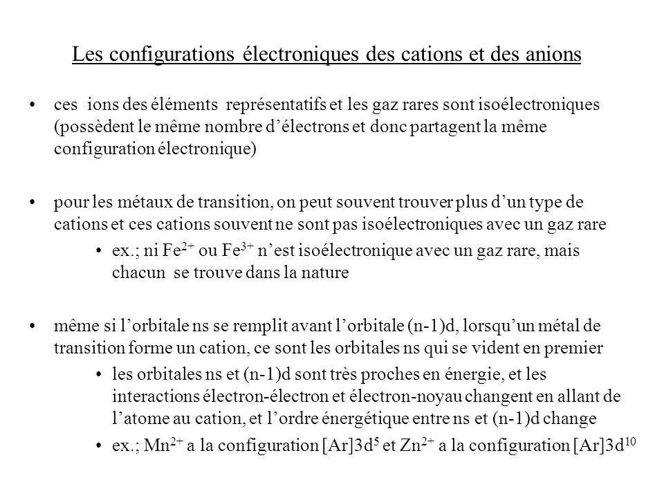 Les configurations électroniques des cations et des anions