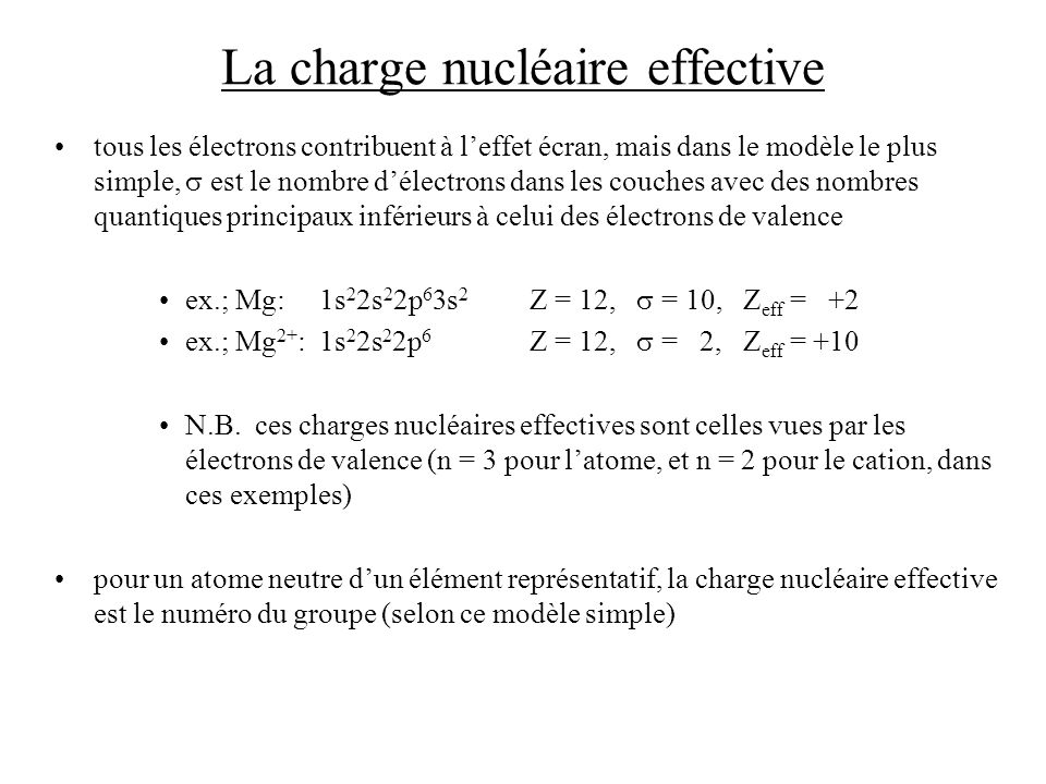 La charge nucléaire effective
