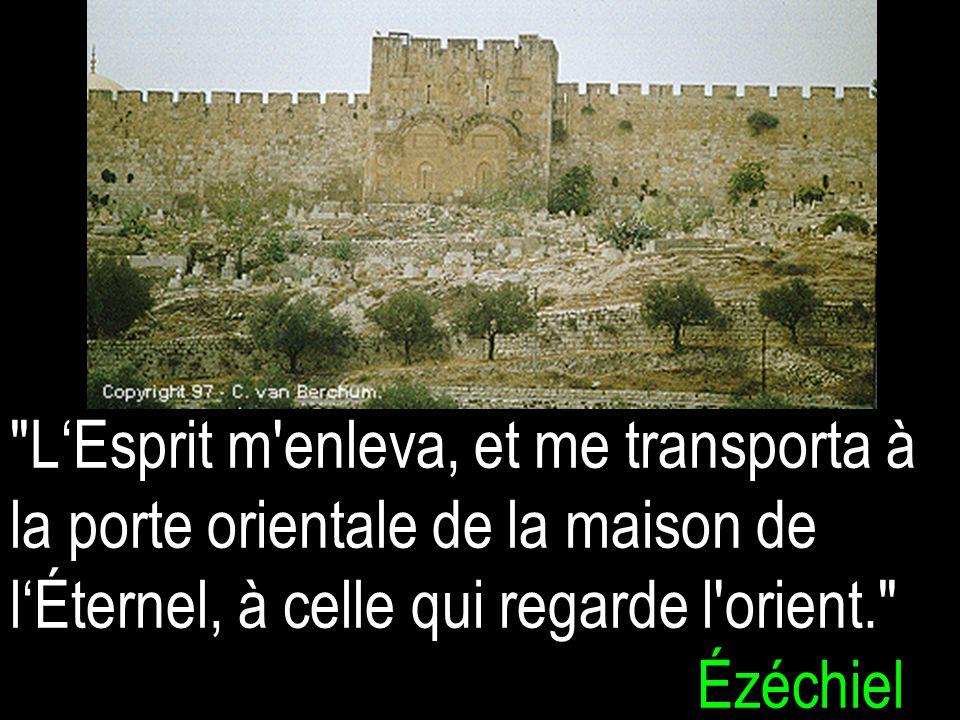 L'Esprit m enleva, et me transporta à la porte orientale de la maison de l'Éternel, à celle qui regarde l orient. Ézéchiel 11v1