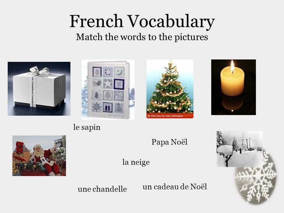 French Vocabulary Match the words to the pictures
