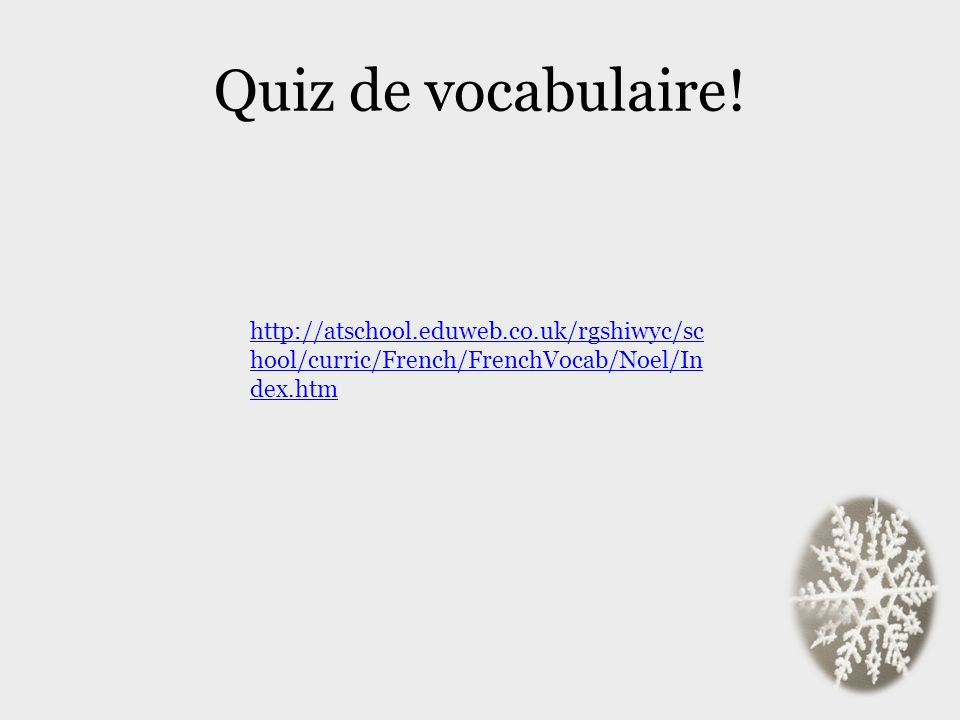 Quiz de vocabulaire.
