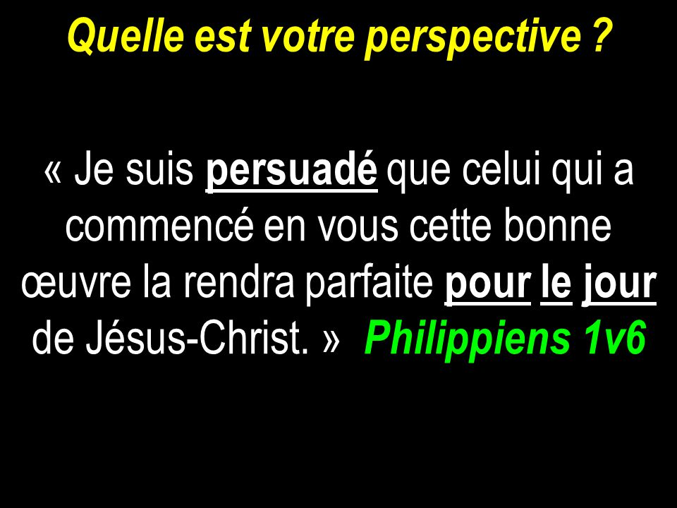 Quelle est votre perspective
