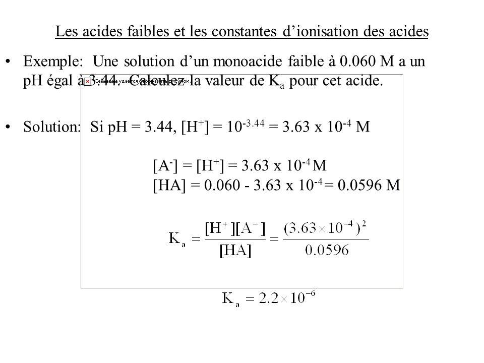 Les acides faibles et les constantes d'ionisation des acides