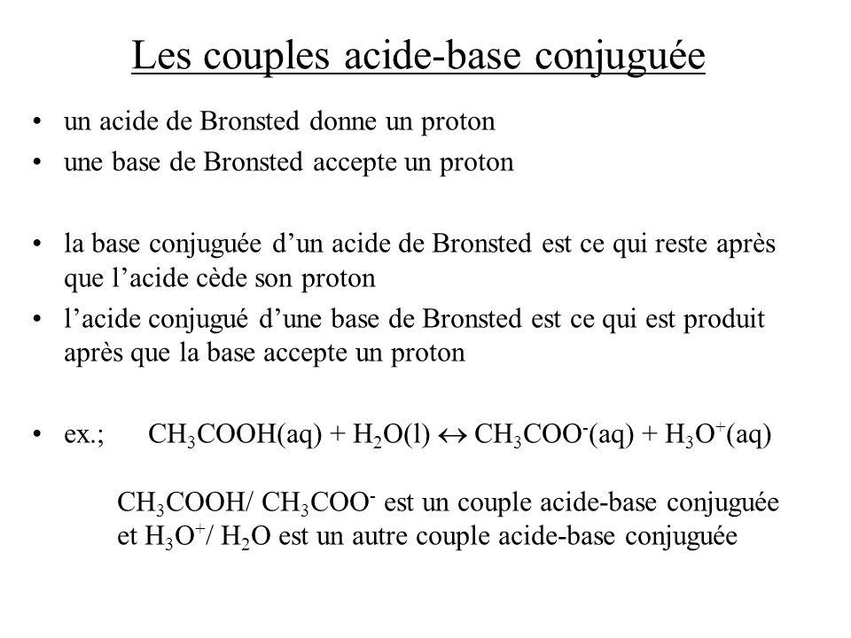 Les couples acide-base conjuguée