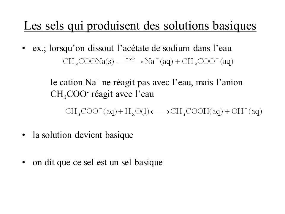 Les sels qui produisent des solutions basiques
