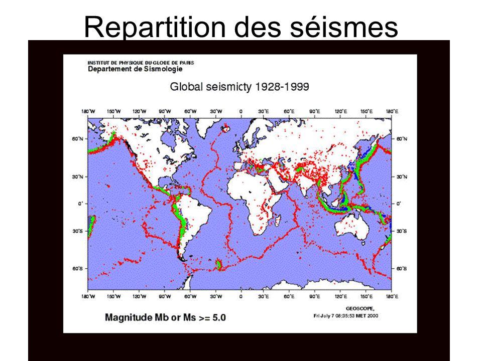 Repartition des séismes