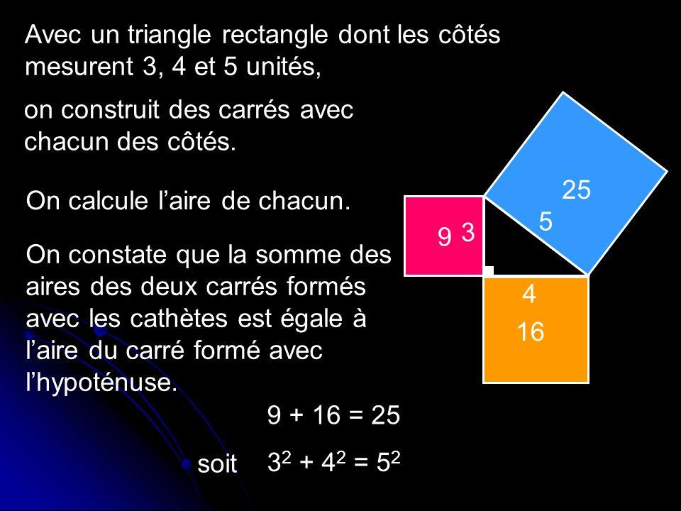 Avec un triangle rectangle dont les côtés mesurent 3, 4 et 5 unités,