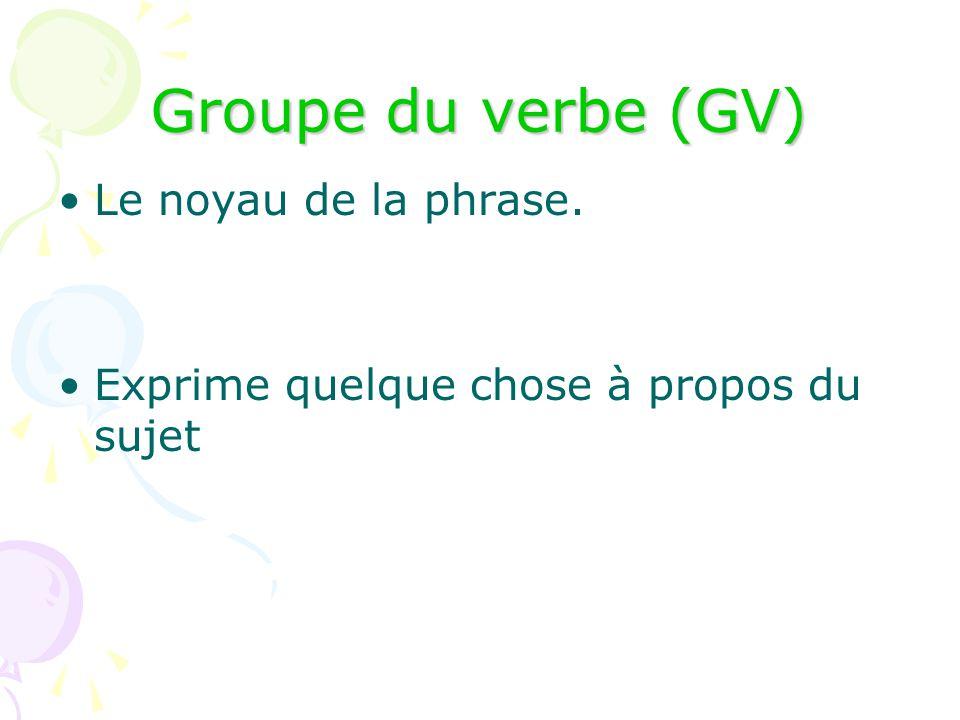 Groupe du verbe (GV) Le noyau de la phrase.