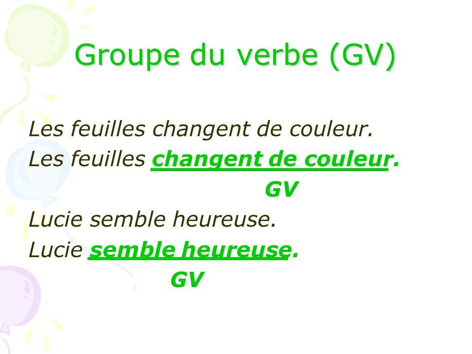 Groupe du verbe (GV) Les feuilles changent de couleur. GV