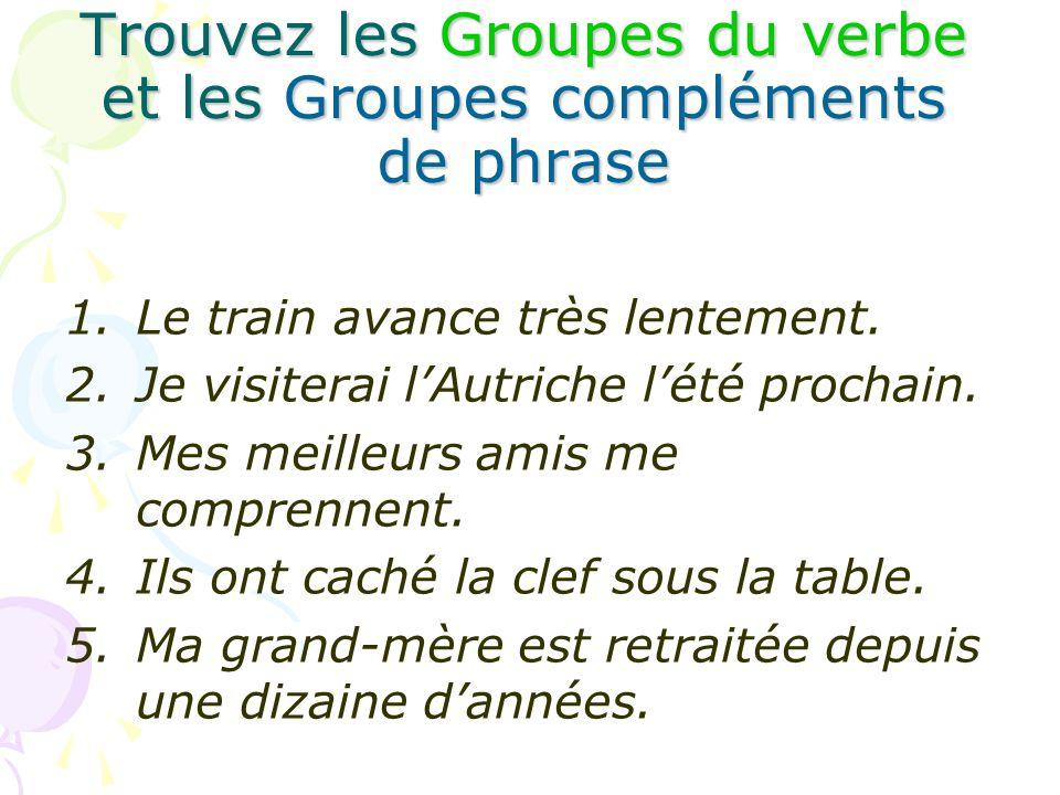 Trouvez les Groupes du verbe et les Groupes compléments de phrase