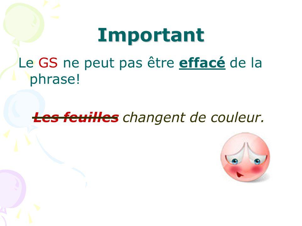 Important Le GS ne peut pas être effacé de la phrase!