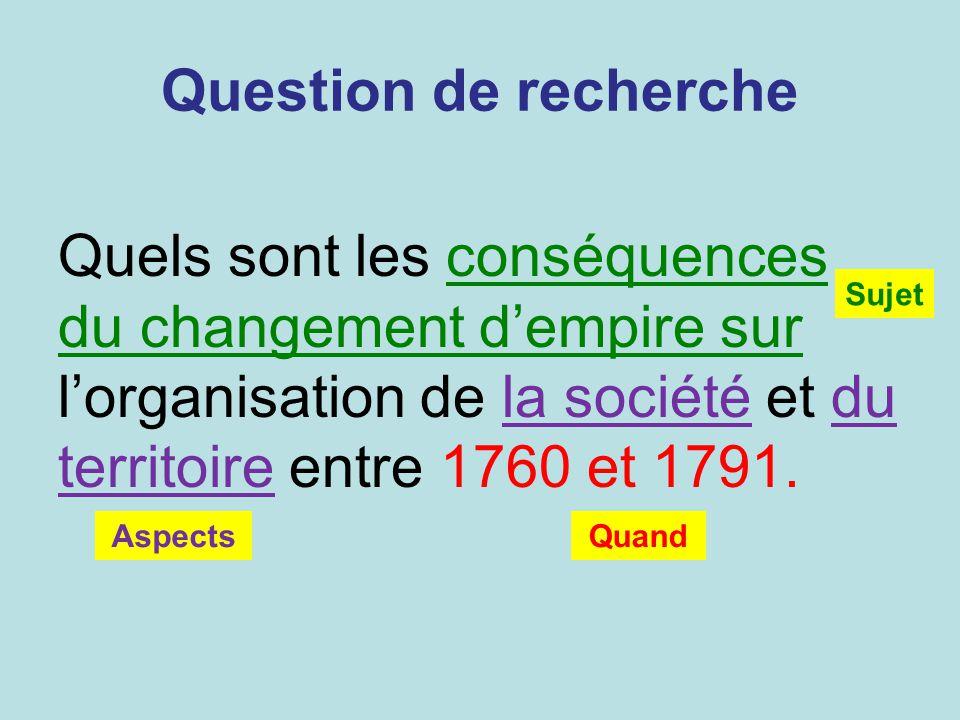 Question de recherche Quels sont les conséquences du changement d'empire sur l'organisation de la société et du territoire entre 1760 et 1791.