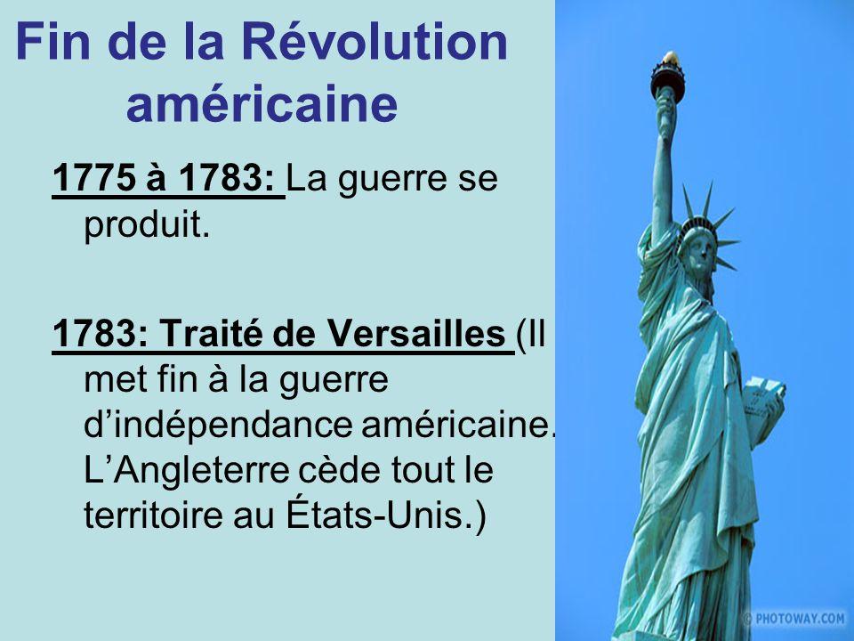 Fin de la Révolution américaine