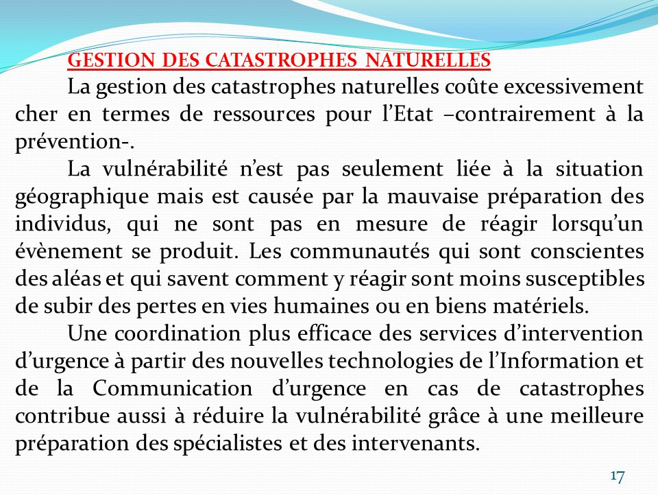 GESTION DES CATASTROPHES NATURELLES