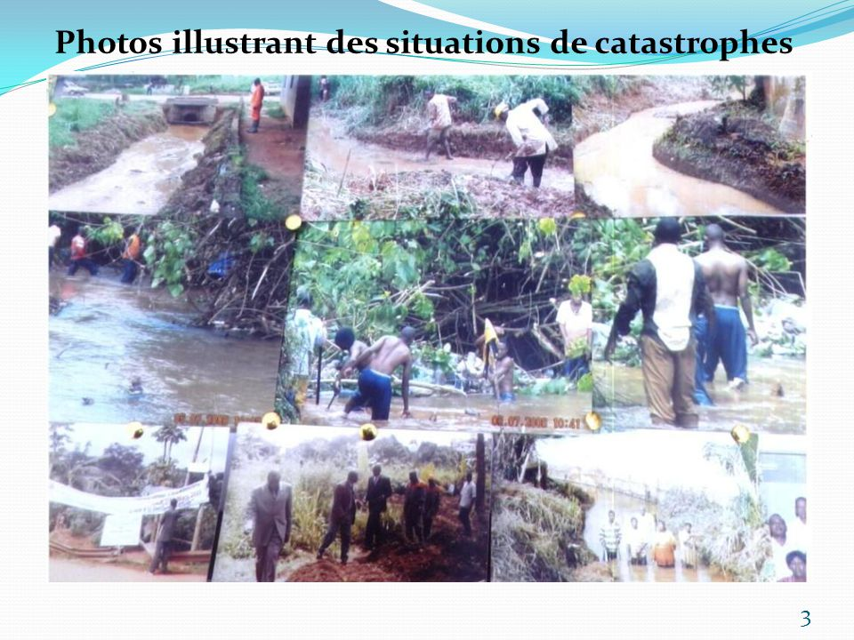 Photos illustrant des situations de catastrophes