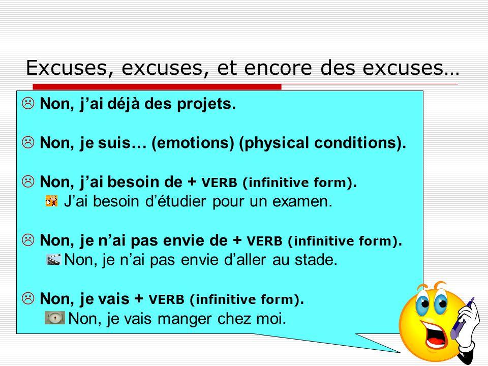Excuses, excuses, et encore des excuses…