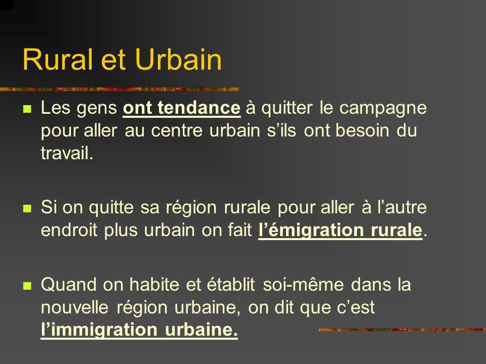 Rural et Urbain Les gens ont tendance à quitter le campagne pour aller au centre urbain s'ils ont besoin du travail.