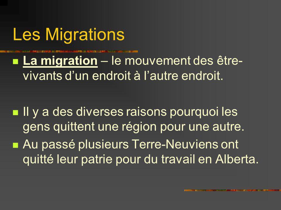 Les Migrations La migration – le mouvement des être-vivants d'un endroit à l'autre endroit.
