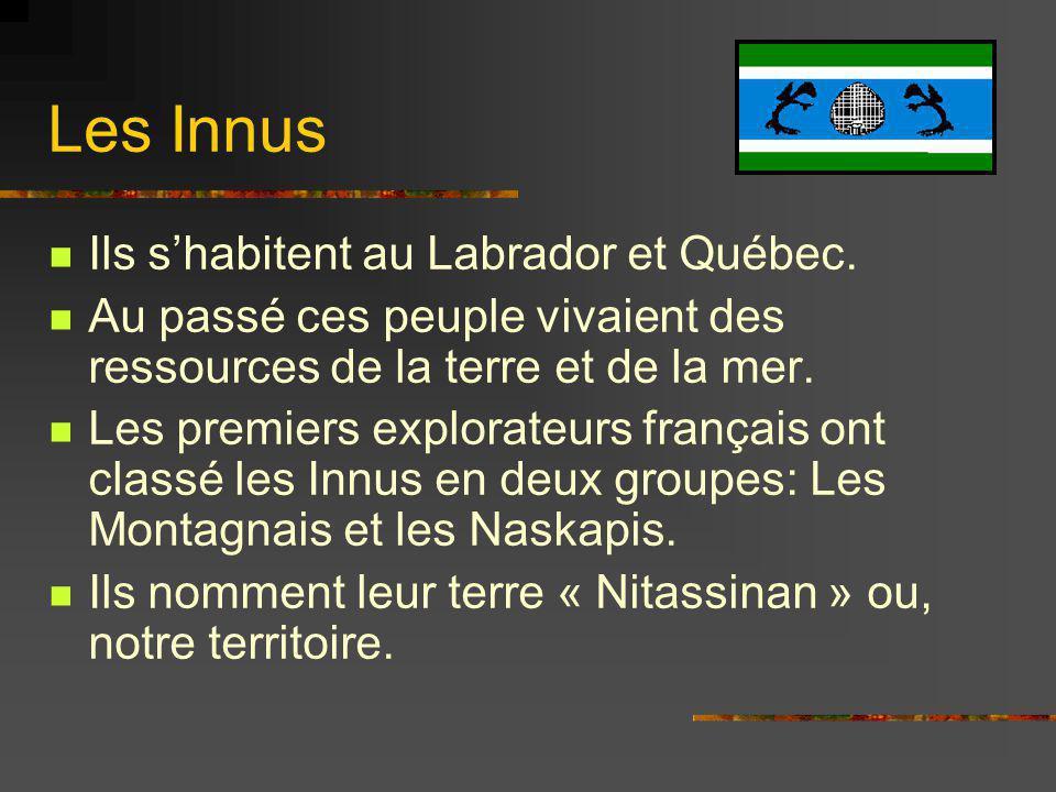 Les Innus Ils s'habitent au Labrador et Québec.