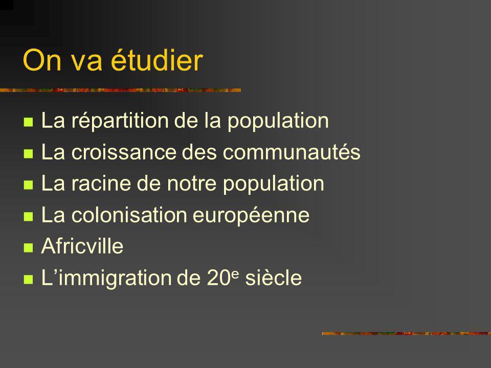 On va étudier La répartition de la population