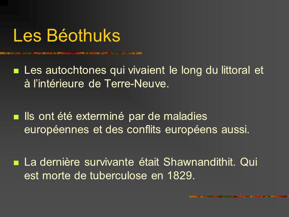 Les Béothuks Les autochtones qui vivaient le long du littoral et à l'intérieure de Terre-Neuve.
