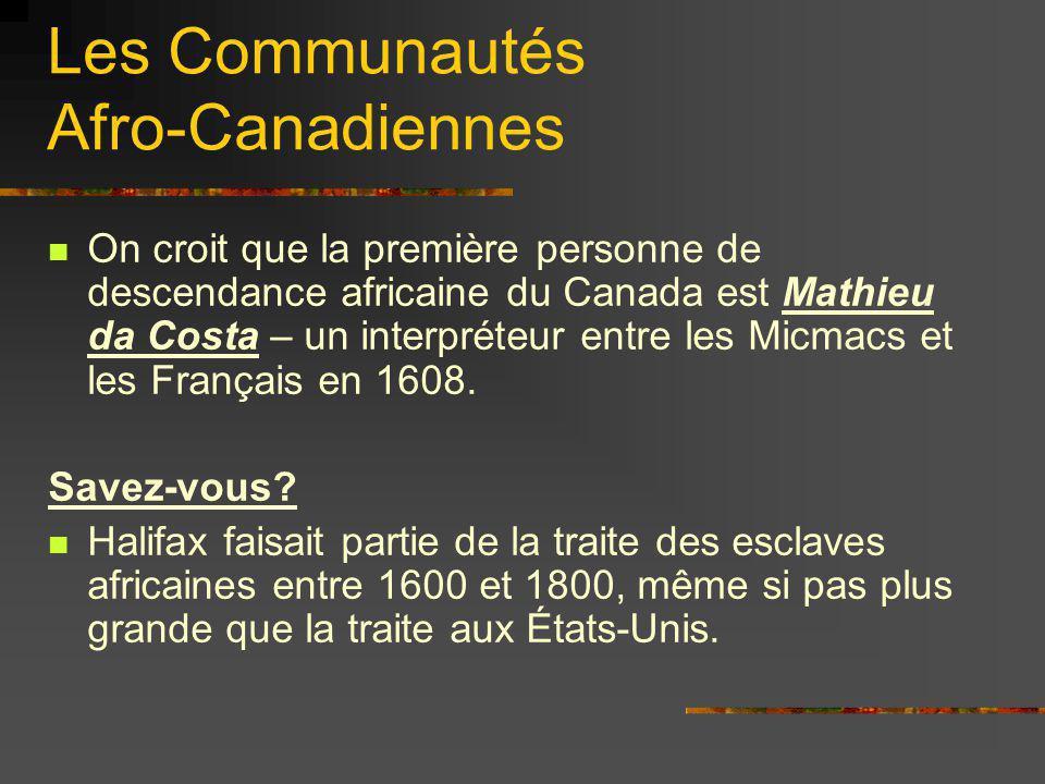 Les Communautés Afro-Canadiennes