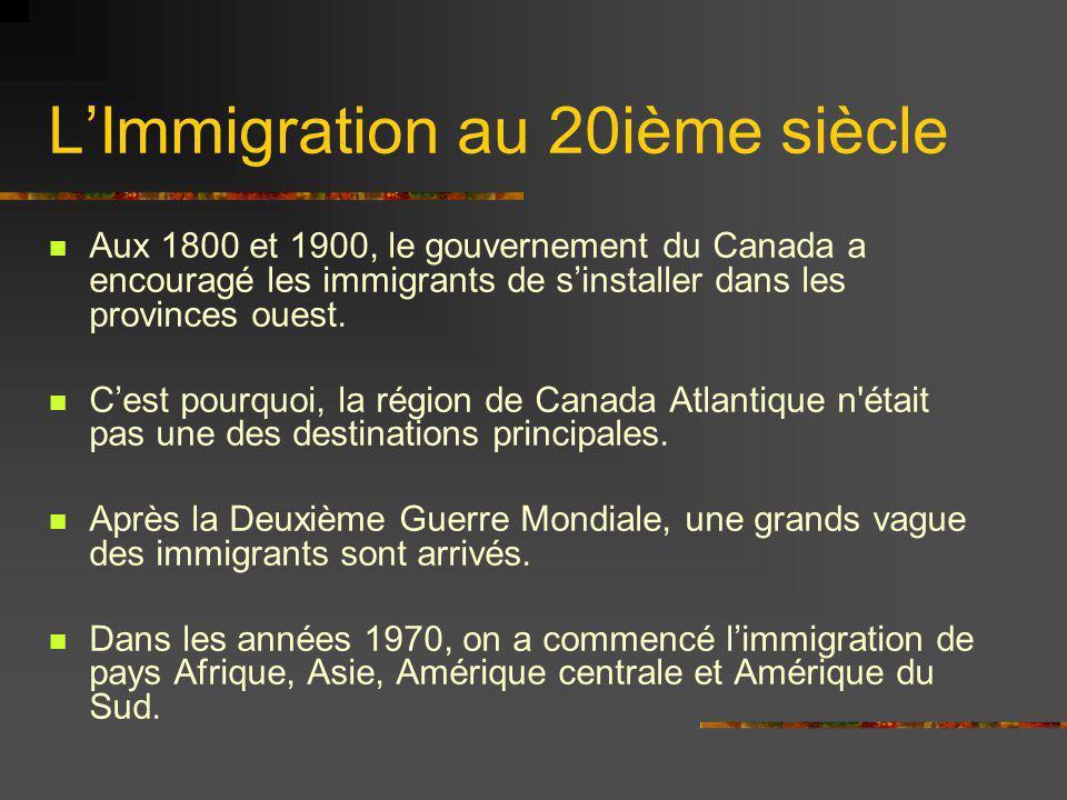 L'Immigration au 20ième siècle