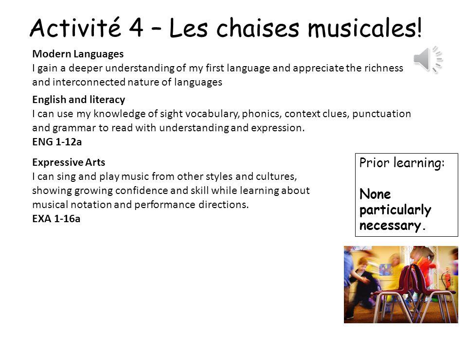Activité 4 – Les chaises musicales!