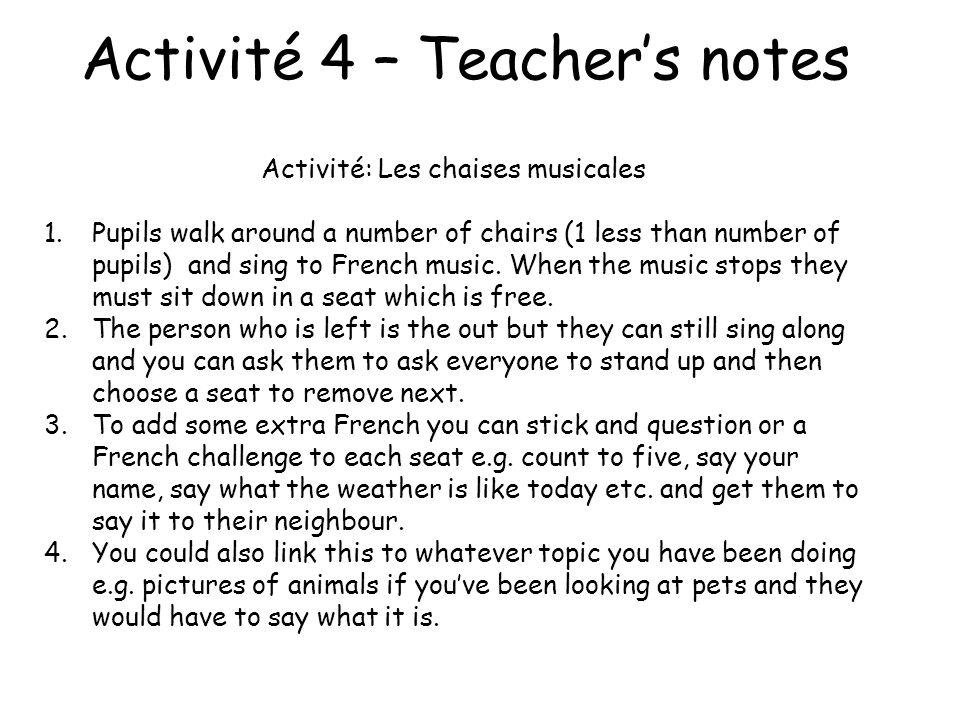 Activité 4 – Teacher's notes