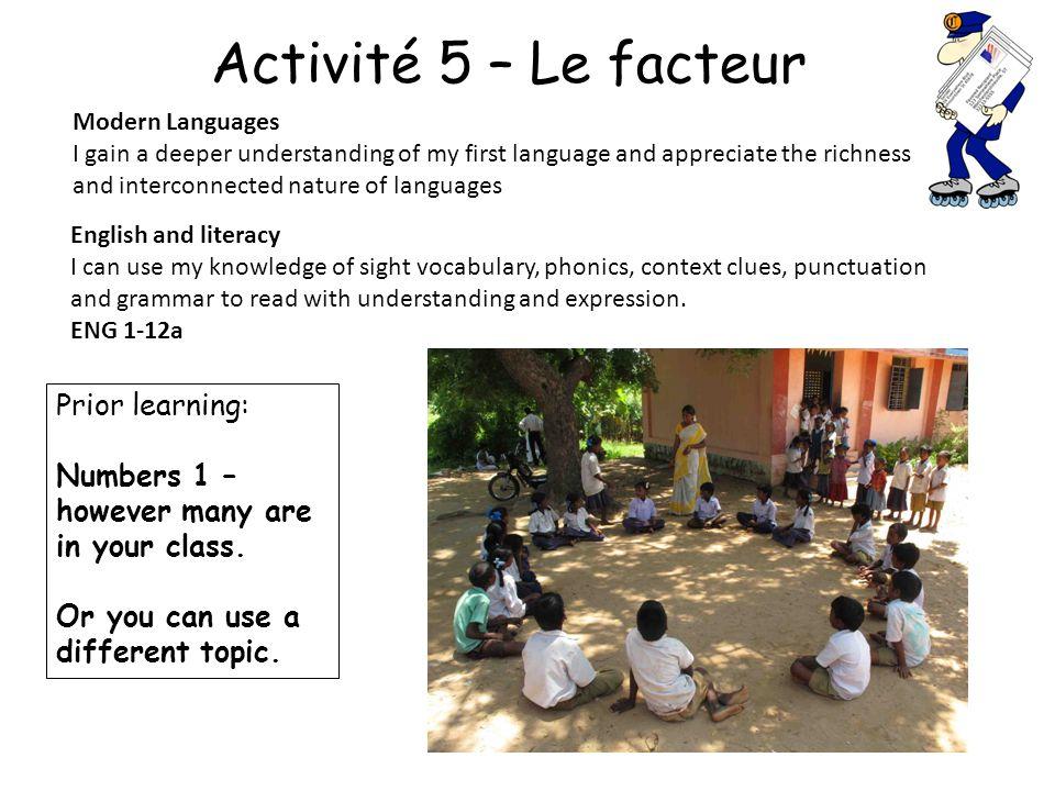 Activité 5 – Le facteur Prior learning: