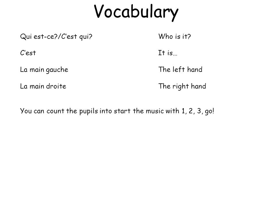 Vocabulary Qui est-ce /C'est qui Who is it C'est It is…