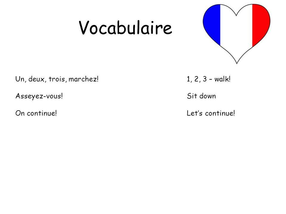 Vocabulaire Un, deux, trois, marchez! 1, 2, 3 – walk!