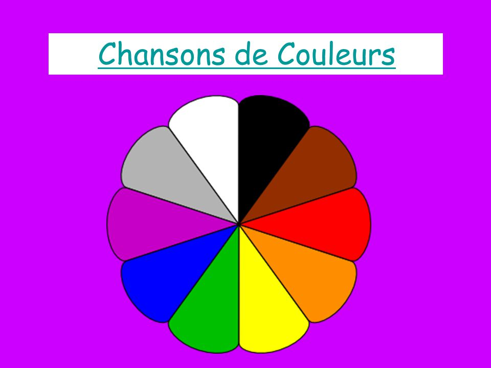 Chansons de Couleurs Both the text and the colour pin wheel are hyperlinks