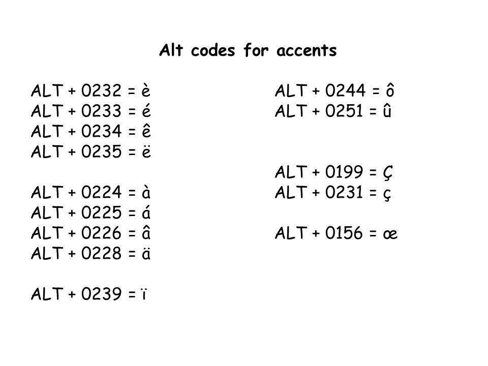 Alt codes for accents ALT + 0232 = è ALT + 0244 = ô. ALT + 0233 = é ALT + 0251 = û. ALT + 0234 = ê.