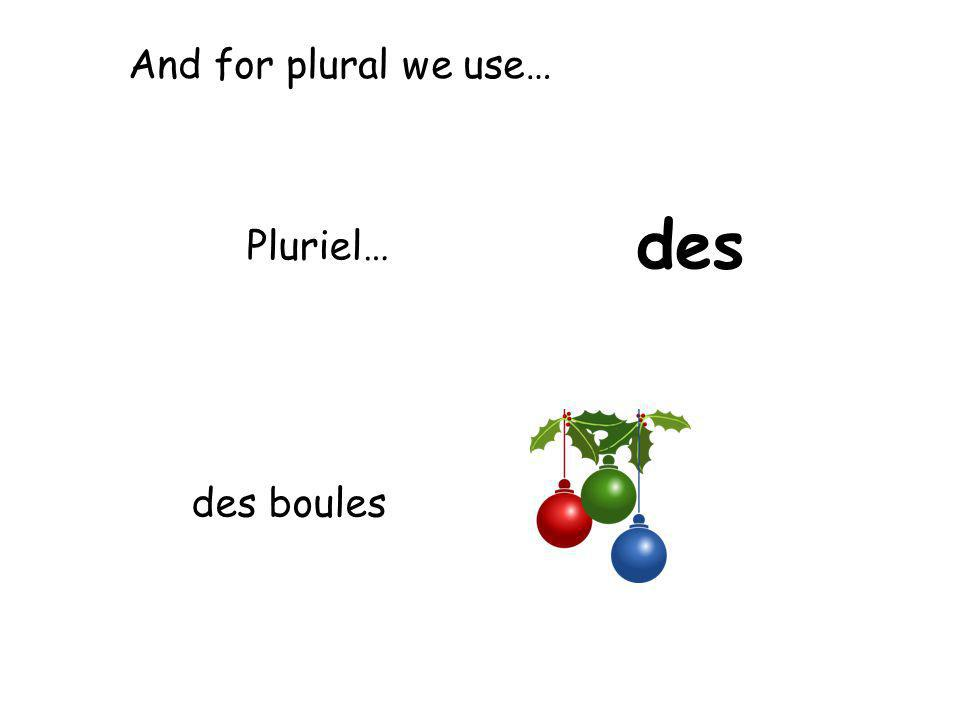 And for plural we use… des Pluriel… des boules