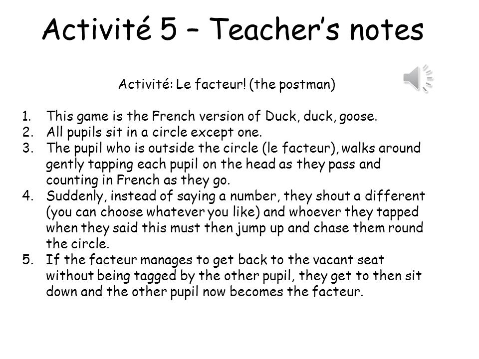 Activité 5 – Teacher's notes