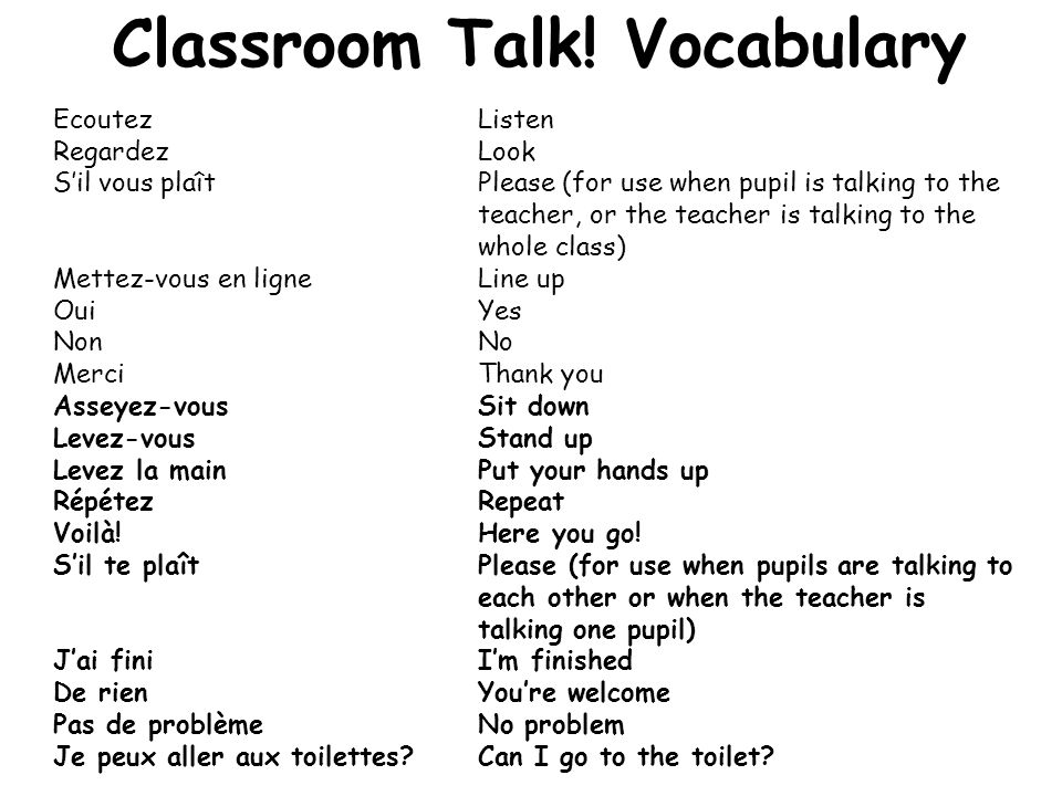 Classroom Talk! Vocabulary